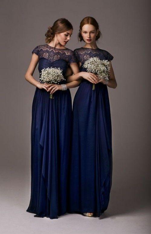Robe demoiselle d'honneur bleu nuit longue à encolure illusion