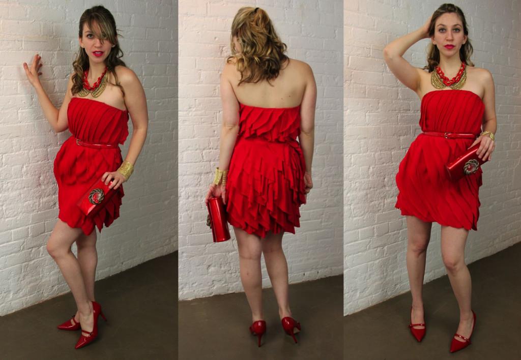 Robe rouge courte bustier droit avec chaussures rouges