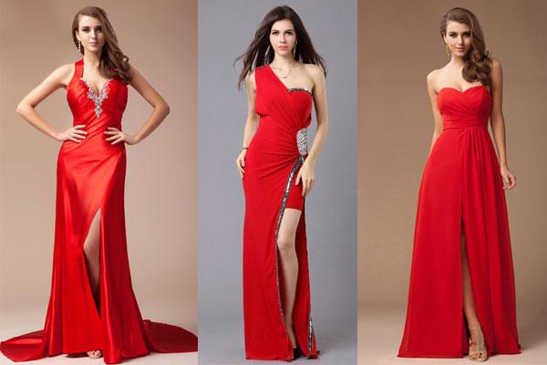 Robe de soirée rouge avec fente