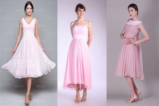 Robe de soirée rose mi longue