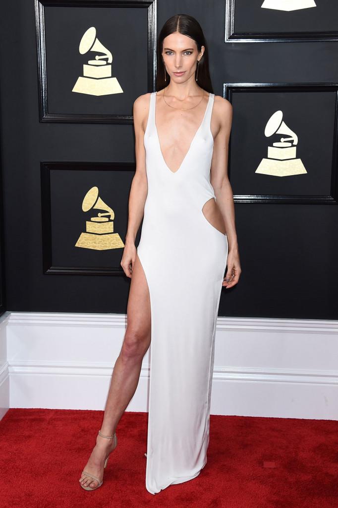 Sexy robe de soirée blanche fendue col en V Jessica Miller