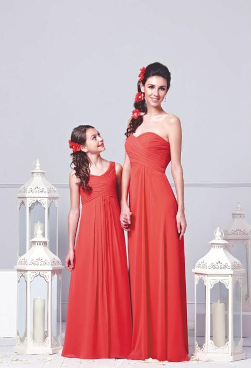Robe demoiselle d'honneur rouge longue