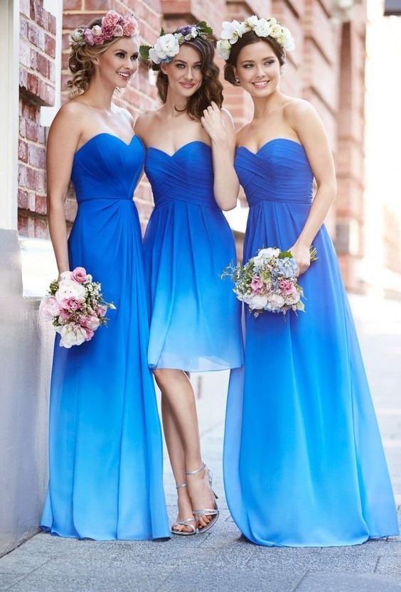 Robe demoiselle d'honneur bleu bustier coeur