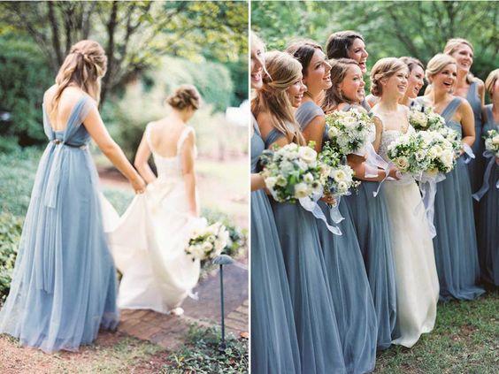 Robe demoiselle d'honneur bleu longue en tulle