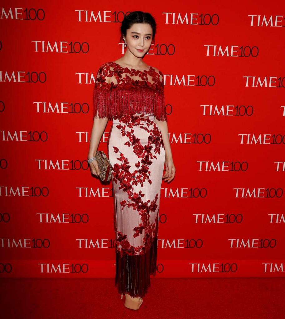 Robe fourreau de soirée rouge et rose Fan Bingbing
