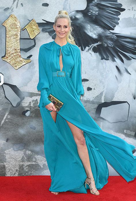 Robe de soirée turquoise longue fendue